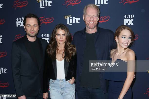 Matthew Rhys Keri Russell Noah Emmerich and Holly Taylor attend FX's 2017 Upfront at SVA Theater on April 6 2017 in New York City