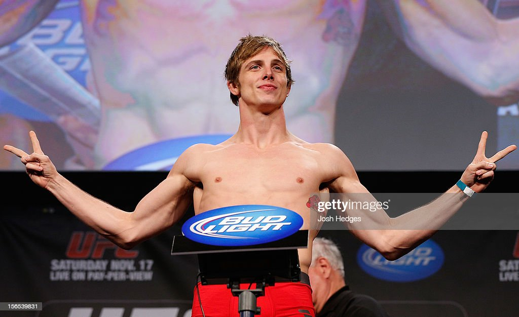 Matthew Riddle weighs in during the official UFC 154 weigh in at New City Gas on November 16, 2012 in Montreal, Quebec, Canada.