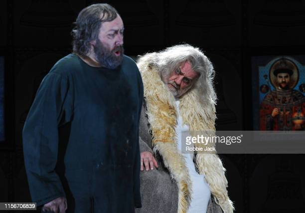 Matthew Rose as Pimen and Bryn Terfel as Boris Godunov in The Royal Opera's production of Modest Musorgsky's Boris Godunov directed by Richard Jones...