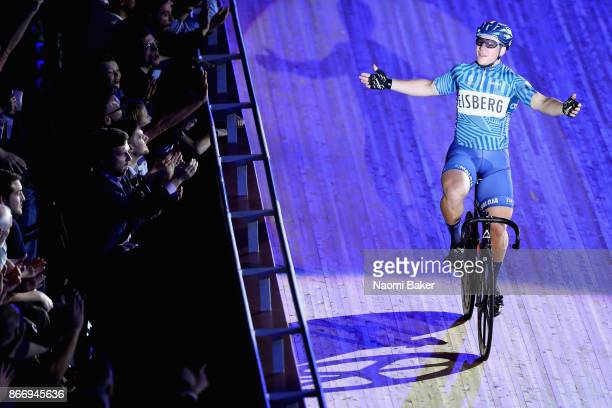 Matthew Rotherham of Great Britain celebrates during the Mens Keirin Sprinters Final on Day 3 of the London Six Day Race and the Lee Valley Velopark...