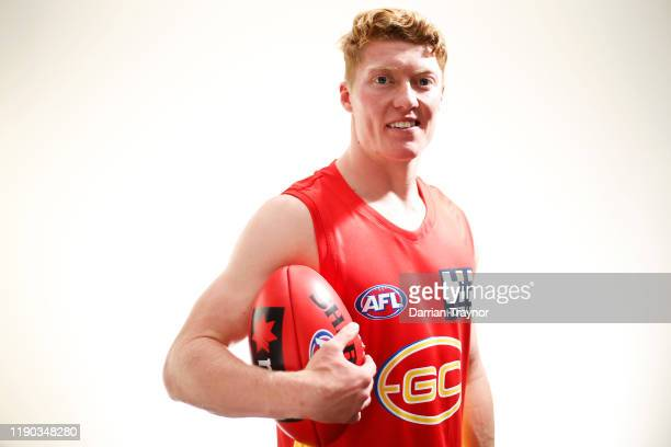 Matthew Rowell of the Gold Coast Suns poses during the 2019 AFL Draftt at Marvel Stadium on November 27 2019 in Melbourne Australia