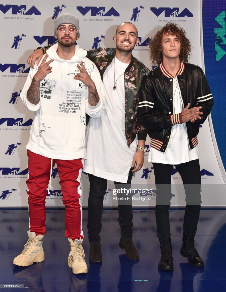 KEVI, Matthew Russell, and Trevor Dahl of Cheat Codes attend the 2017 MTV Video Music Awards at The Forum on August 27, 2017 in Inglewood, California.