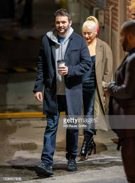 Matthew Rutler and Christina Aguilera are seen at 'Jimmy Kimmel Live' on March 10, 2020 in Los Angeles, California.