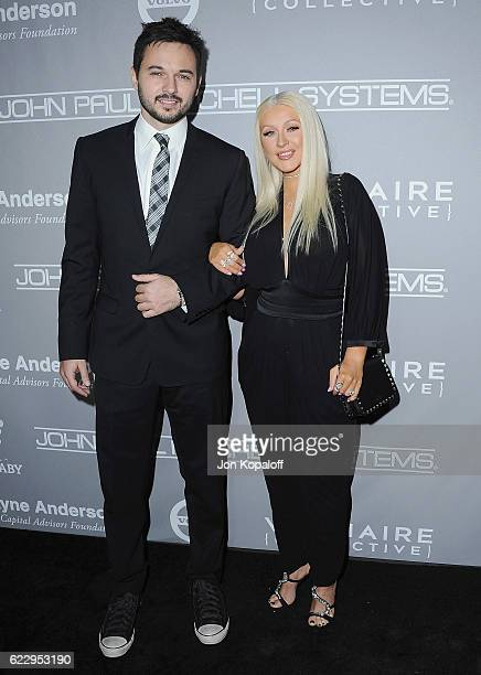 Matthew Rutler and Christina Aguilera arrive at the 5th Annual Baby2Baby Gala at 3LABS on November 12 2016 in Culver City California