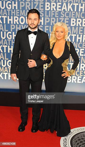 Matthew Rutler and Christina Aguilera attend the annual Breakthrough Prize ceremony at NASA Ames Research Center on November 8 2015 in Mountain View...