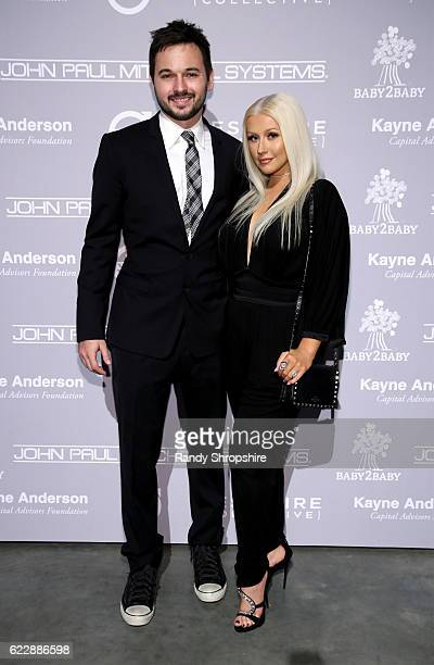 Matthew Rutler and recording artist Christina Aguilera attend the Fifth Annual Baby2Baby Gala Presented By John Paul Mitchell Systems at 3LABS on...