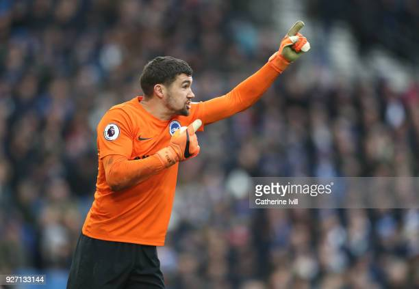 Matthew Ryan of Brighton and Hove Albion during the Premier League match between Brighton and Hove Albion and Arsenal at Amex Stadium on March 4 2018...