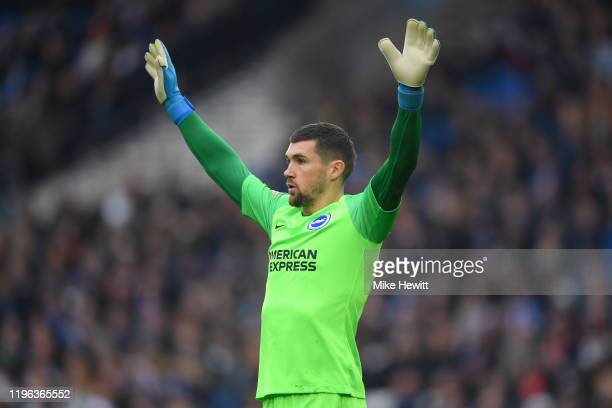 Matthew Ryan of Brighton Hove Albion signals during the Premier League match between Brighton Hove Albion and AFC Bournemouth at American Express...