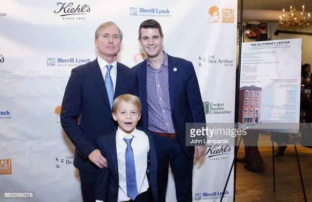 Matthew Saks, Brody Saks and New york City office of the Mayor senior advisor, Matthew T. McMorrow attend The Bea Arthur Residence Building...