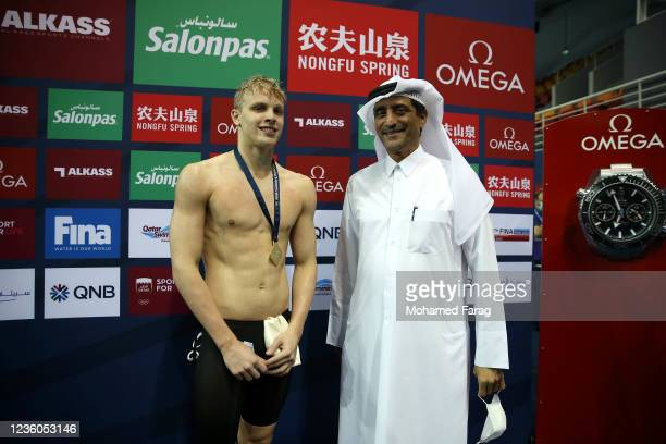 Matthew Sates of South Africa wins the gold medal in the Men's 200m Individual Medley during day Two of the FINA Swimming World Cup Doha at Hamad...