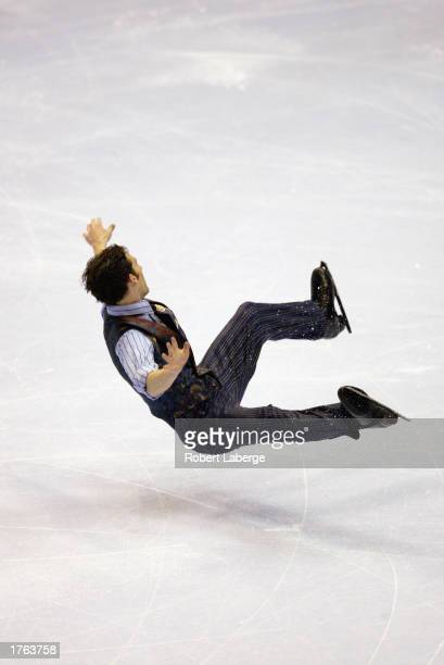 Matthew Savoie falls to the ice during the men's free skate program at the State Farm US Figure Skating Championships on January 18 2003 at the...