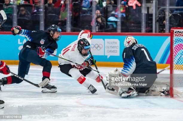 Matthew Savoie of Canada tries to score against Goalkeeper Dylan Silverstein of United States during Men's 6Team Tournament Semifinals Game between...