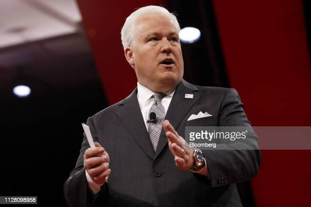 Matthew Schlapp chairman of American Conservative Union speaks during CPAC in National Harbor Maryland US on Thursday Feb 28 2019 President Trump...