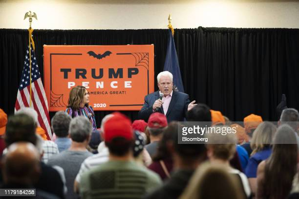 Matthew Schlapp chairman of American Conservative Union speaks while Mercedes Schlapp White House director of strategic communications listens during...