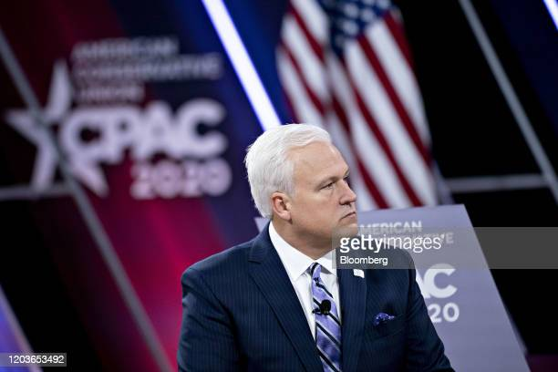 Matthew Schlapp, chairman of the American Conservative Union, listens during a conversation at the Conservative Political Action Conference in...