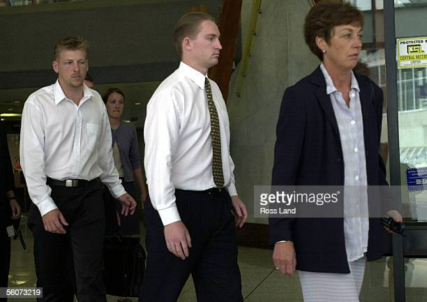 Matthew Schofield leaves the Auckland District Court with his supporters after facing two charges of manslaughter and causing bodily harm with...