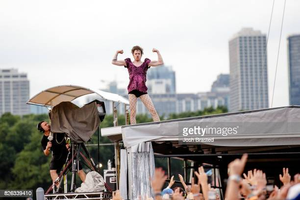 Matthew Schultz of Cage the Elephant performs during Lollapalooza 2017 at Grant Park on August 3 2017 in Chicago Illinois