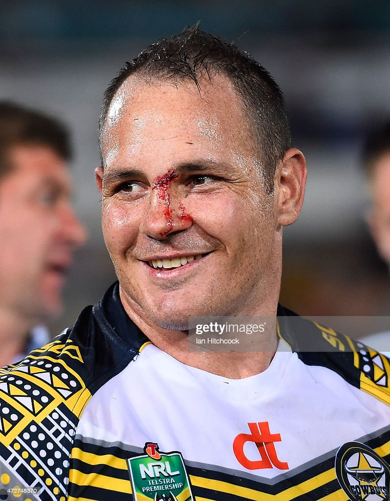 Matthew Scott of the Cowboys smiles after winning the round nine NRL match between the North Queensland Cowboys and the Canterbury Bulldogs at 1300SMILES Stadium on May 9, 2015 in Townsville, Australia.