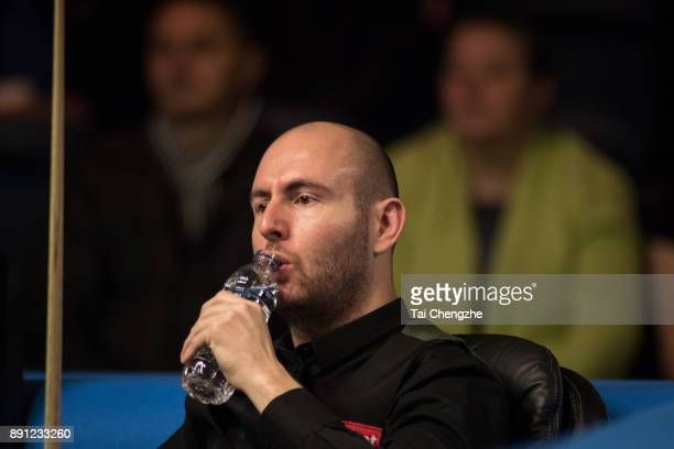 Matthew Selt of England drinks water during his first round match against Alan McManus of Scotland on day two of the 2017 Scottish Open at Emirates...