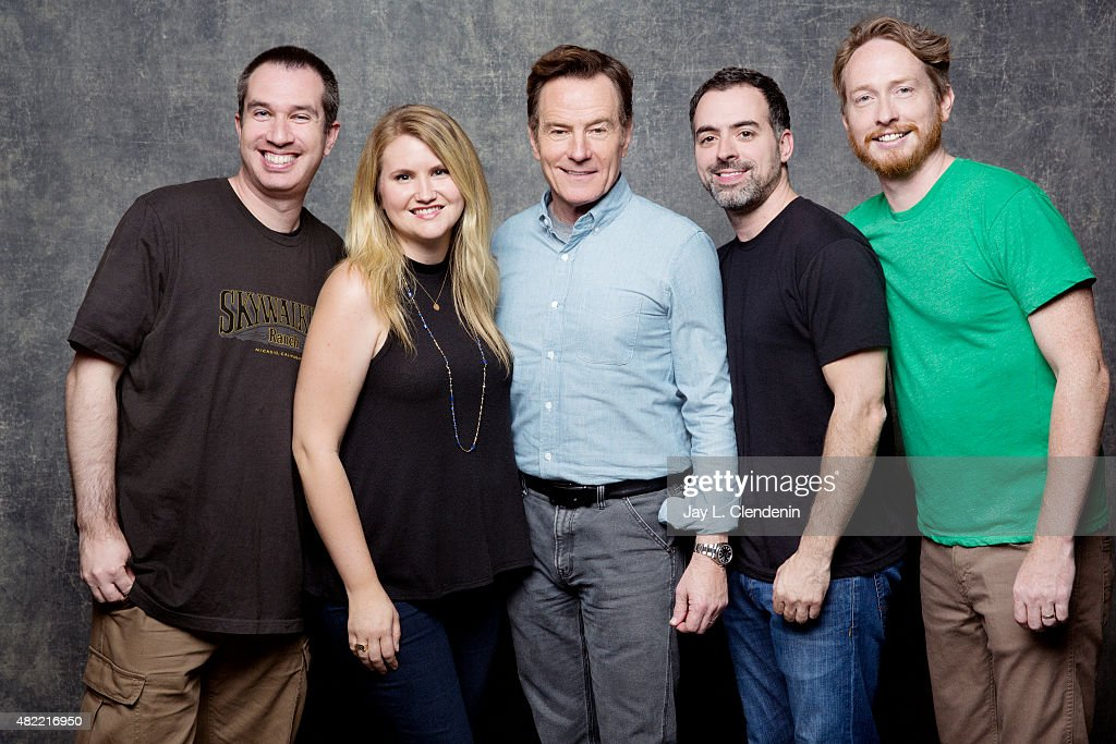 Matthew Senreich, Jillian Bell, Bryan Cranston, Joe Mad and Zeb Wells of 'Super Mansion' pose for a portrait at Comic-Con International 2015 for Los Angeles Times on July 9, 2015 in San Diego, California. PUBLISHED IMAGE.