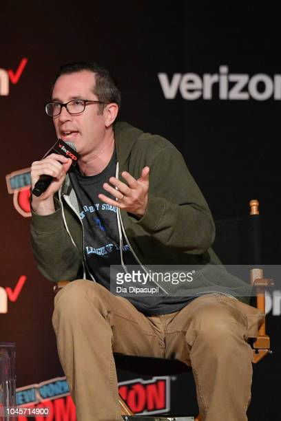 Matthew Senreich speaks onstage at the Sony Crackle Presents SuperMansion panel during New York Comic Con 2018 at Jacob K Javits Convention Center on...