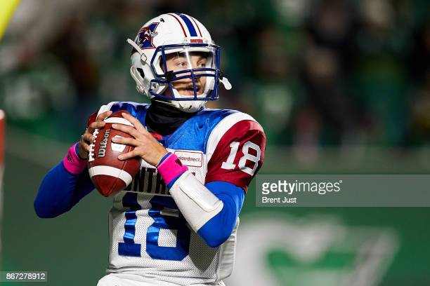 Matthew Shiltz of the Montreal Alouettes looks for an open receiver in the game between the Montreal Alouettes and Saskatchewan Roughriders at Mosaic...