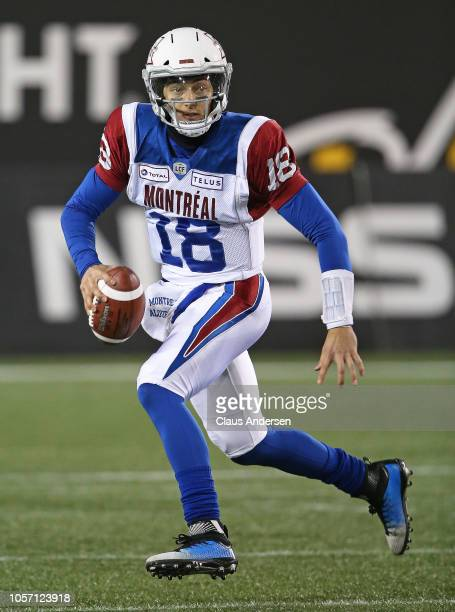 Matthew Shiltz of the Montreal Alouettes rolls out for a pass against the Hamilton TigerCats in a CFL game at Tim Hortons Field on November 3 2018 in...