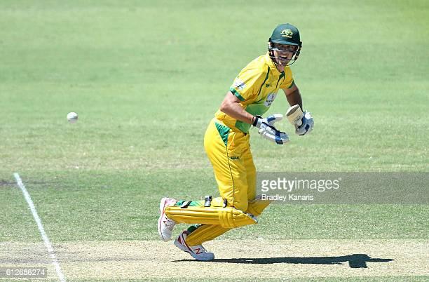 Matthew Short of CA XI plays a shot during the Matador BBQs One Day Cup match between Tasmania and the Cricket Australia XI at Allan Border Field on...