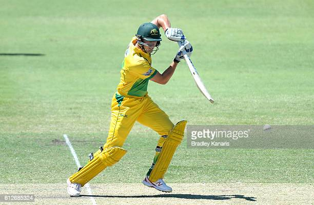 Matthew Short of the CA XI plays a shot during the Matador BBQs One Day Cup match between Tasmania and the Cricket Australia XI at Allan Border Field...