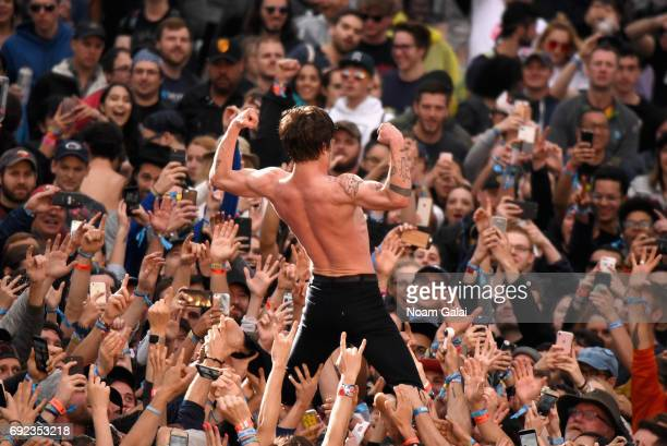 Matthew Shultz of Cage the Elephant performs onstage during the 2017 Governors Ball Music Festival Day 3 at Randall's Island on June 4 2017 in New...