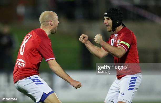 Matthew Sim of Sydney United 58 FC celebrates with Nicholas Stavroulakis after scoring a goal during the FFA Cup round of 32 match between Sydney...