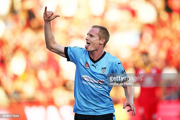 Matthew Simon of Sydney celebrate after scoring a goal during the round 18 ALeague match between Adelaide United and Sydney FC at Coopers Stadium on...