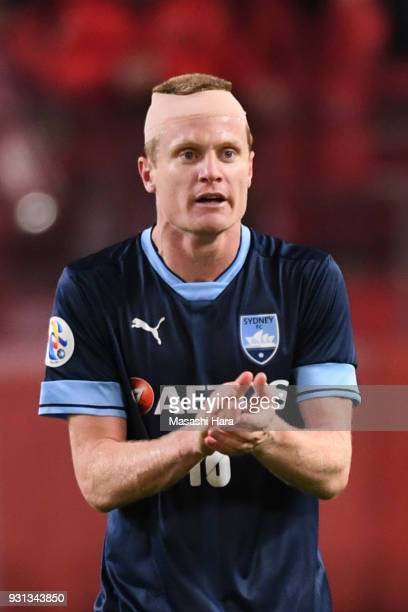 Matthew Simon of Sydney FC looks on after the first goal during the AFC Champions League Group H match between Kashima Antlers and Sydney FC at...