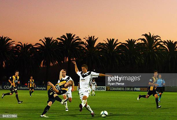 Matthew Simon of the Mariners shoots on goal during the round 18 A-League match between the Central Coast Mariners and the Melbourne Victory at...