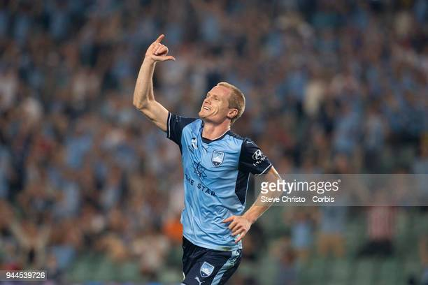 Matthew Simon of the Sydney celebrates scoring a goal during the round 26 ALeague match between Sydney FC and Adelaide United at Allianz Stadium on...