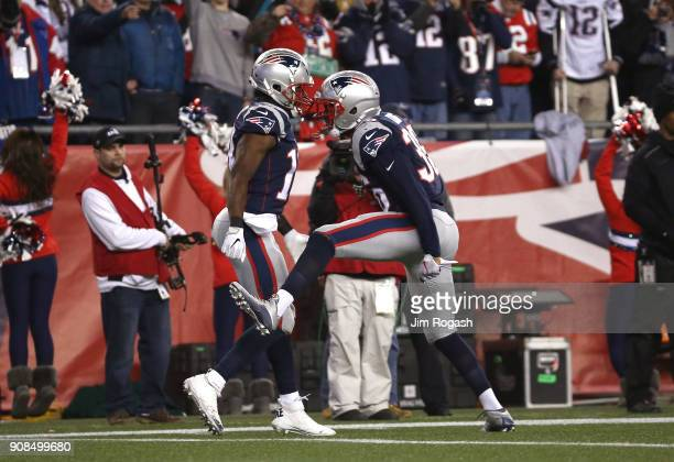 Matthew Slater and Brandon King of the New England Patriots react after a play in the fourth quarter against the Jacksonville Jaguars during the AFC...