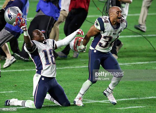 Matthew Slater and Shane Vereen of the New England Patriots celebrate after defeating the Seattle Seahawks during Super Bowl XLIX at University of...