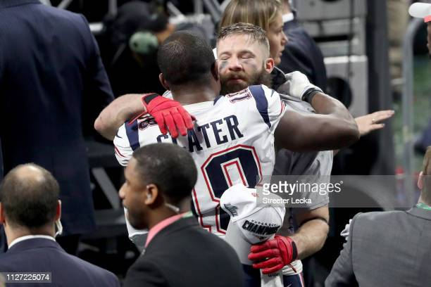 Matthew Slater of the New England Patriots and Julian Edelman celebrate after their teams 133 win over the Los Angeles Rams during Super Bowl LIII at...