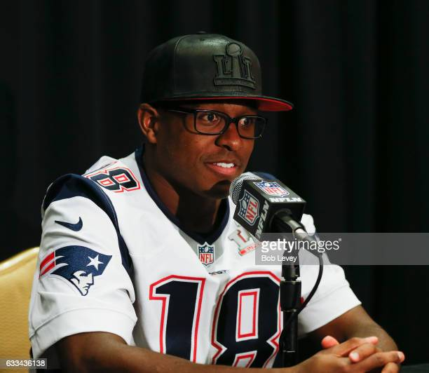 Matthew Slater of the New England Patriots answers questions during Super Bowl LI media availability at the JW Marriott on February 1 2017 in Houston...