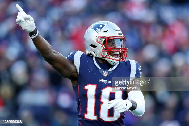 Matthew Slater of the New England Patriots celebrates during the game against the Buffalo Bills at Gillette Stadium on December 23 2018 in Foxborough...