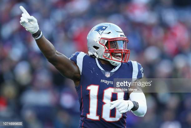 Matthew Slater of the New England Patriots celebrates during the second half against the Buffalo Bills at Gillette Stadium on December 23 2018 in...