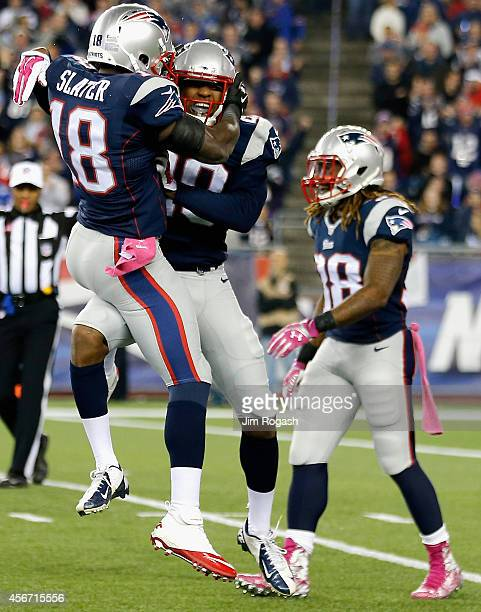 Matthew Slater of the New England Patriots celebrates during the first quarter against the Cincinnati Bengals at Gillette Stadium on October 5 2014...