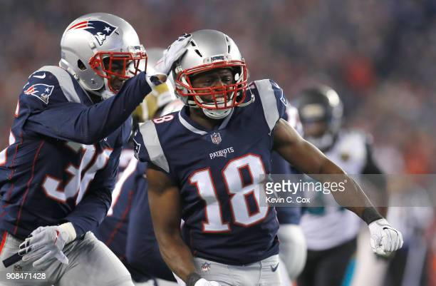 Matthew Slater of the New England Patriots celebrates in the second half during the AFC Championship Game against the Jacksonville Jaguars at...