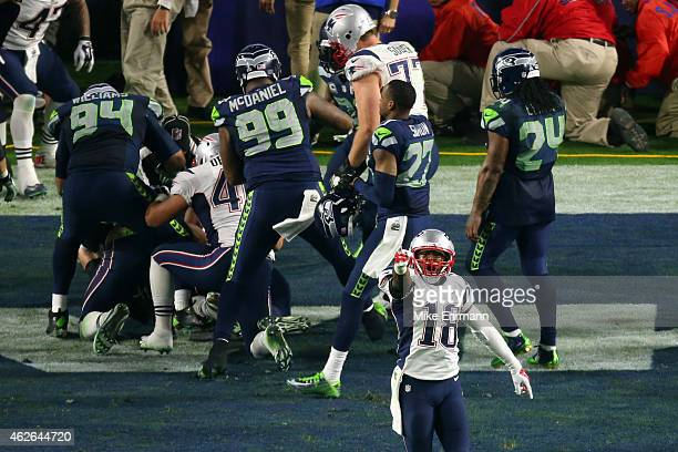 Matthew Slater of the New England Patriots reacts after a play late in the fourth quarter against the Seattle Seahawks during Super Bowl XLIX at...