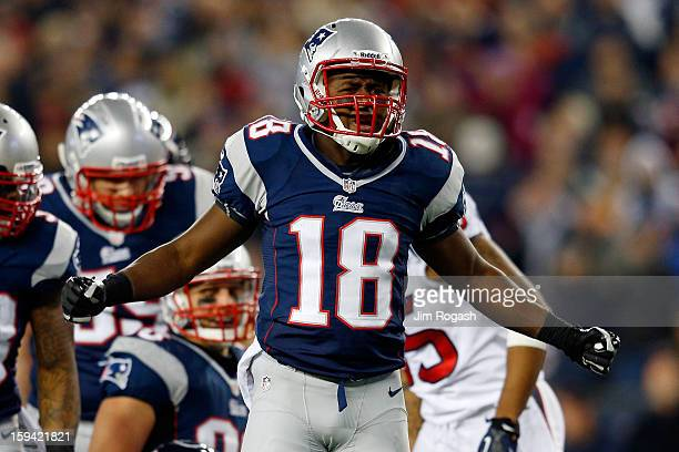 Matthew Slater of the New England Patriots reacts after a tackle against the Houston Texans during the 2013 AFC Divisional Playoffs game at Gillette...