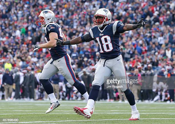 Matthew Slater of the New England Patriots reacts during the third quarter against the Chicago Bears at Gillette Stadium on October 26 2014 in...