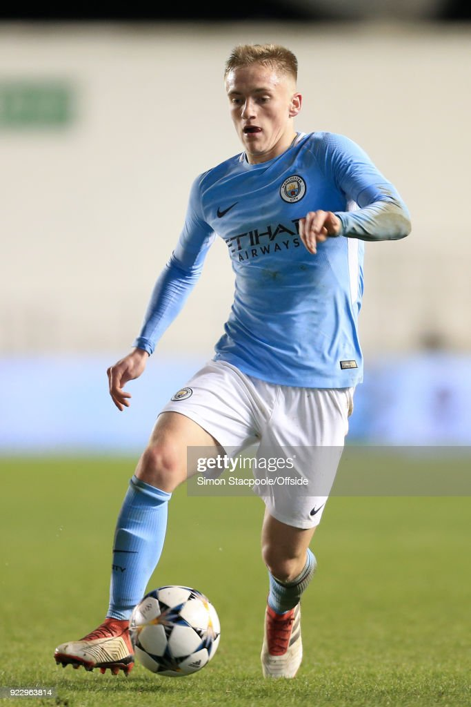 Matthew Smith of Man City in action during the UEFA Youth League Round of 16 match between Manchester City and Inter Milan at Manchester City Football Academy on February 20, 2018 in Manchester, England.