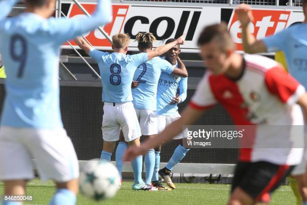 Matthew Smith of Manchester City U19 Demeaco Duganey of Manchester City U19 Matthew Smith of Manchester City U19 during the UEFA Youth League match...