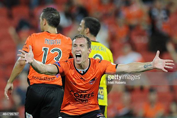 Matthew Smith of the Roar reacts to the referee during the round 16 ALeague match between Brisbane Roar and the Wellington Phoenix at Suncorp Stadium...