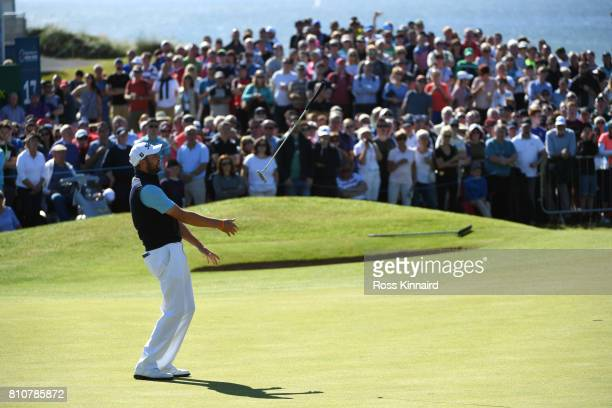 Matthew Southgate of England reacts to a putt on the 18th green during day three of the Dubai Duty Free Irish Open at Portstewart Golf Club on July 8...